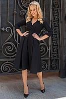 Платье с юбкой солнце V-образный вырез рукав три четверти цвет черный