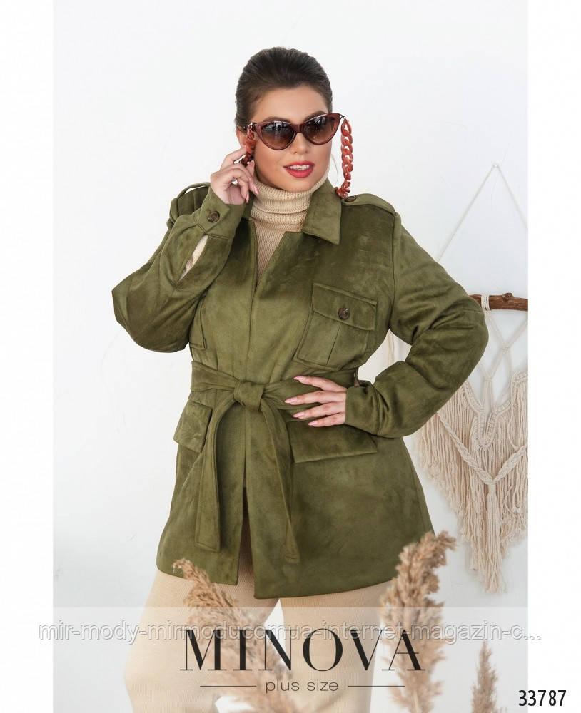 Куртка женская эко замш №705Б-Хаки с 48 по 58 размер(минов)