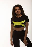 Женская спортивная футболка топ с желтыми вставками ( полосками ) для спортзала фитнеса йоги и бега