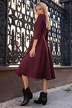 Осеннее платье на каждый день до колен юбка солнце декольте цвет бордовый, фото 2