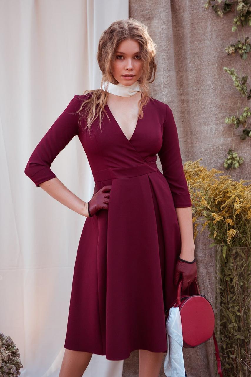 Осеннее платье на каждый день до колен юбка солнце декольте цвет бордовый