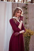 Осеннее платье на каждый день до колен юбка солнце декольте цвет бордовый, фото 3