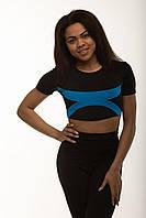 Женская спортивная футболка топ с голубыми вставками ( полосками ) для спортзала фитнеса йоги и бега