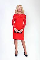 Элегантное платье с гипюровыми рукавами