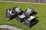 Набор садовой мебели Corfu Quattro Set Brown ( коричневый ) из искусственного ротанга ( Allibert by Keter ), фото 6
