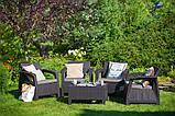 Набор садовой мебели Corfu Quattro Set Brown ( коричневый ) из искусственного ротанга ( Allibert by Keter ), фото 9