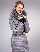 Женская зимняя куртка-пальто, цвет серый