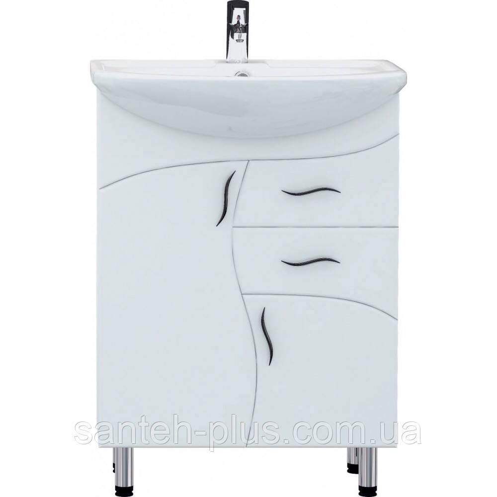 Тумба с умывальником и двумя выдвижными ящиками на ножках в ванную Стиа-65 Т 7