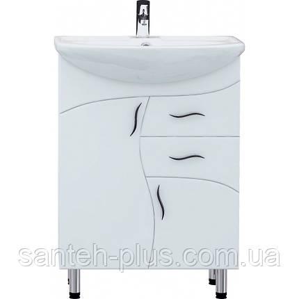 Тумба с умывальником и двумя выдвижными ящиками на ножках в ванную Стиа-65 Т 7, фото 2