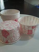 Бумажные формы для выпечки кексов усиленные №7 10шт (белые с рисунком)), фото 1