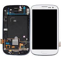 Samsung GALAXY SIII I535 white LCD, модуль, дисплей с сенсорным экраном с рамкой в сборе