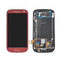 Samsung GALAXY SIII I747 red LCD, модуль, дисплей с сенсорным экраном с рамкой в сборе
