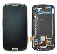 Samsung GALAXY SIII I747 black LCD, модуль, дисплей с сенсорным экраном с рамкой в сборе