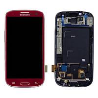 Samsung Galaxy SIII I9300 red LCD, модуль, дисплей с сенсорным экраном с рамкой в сборе