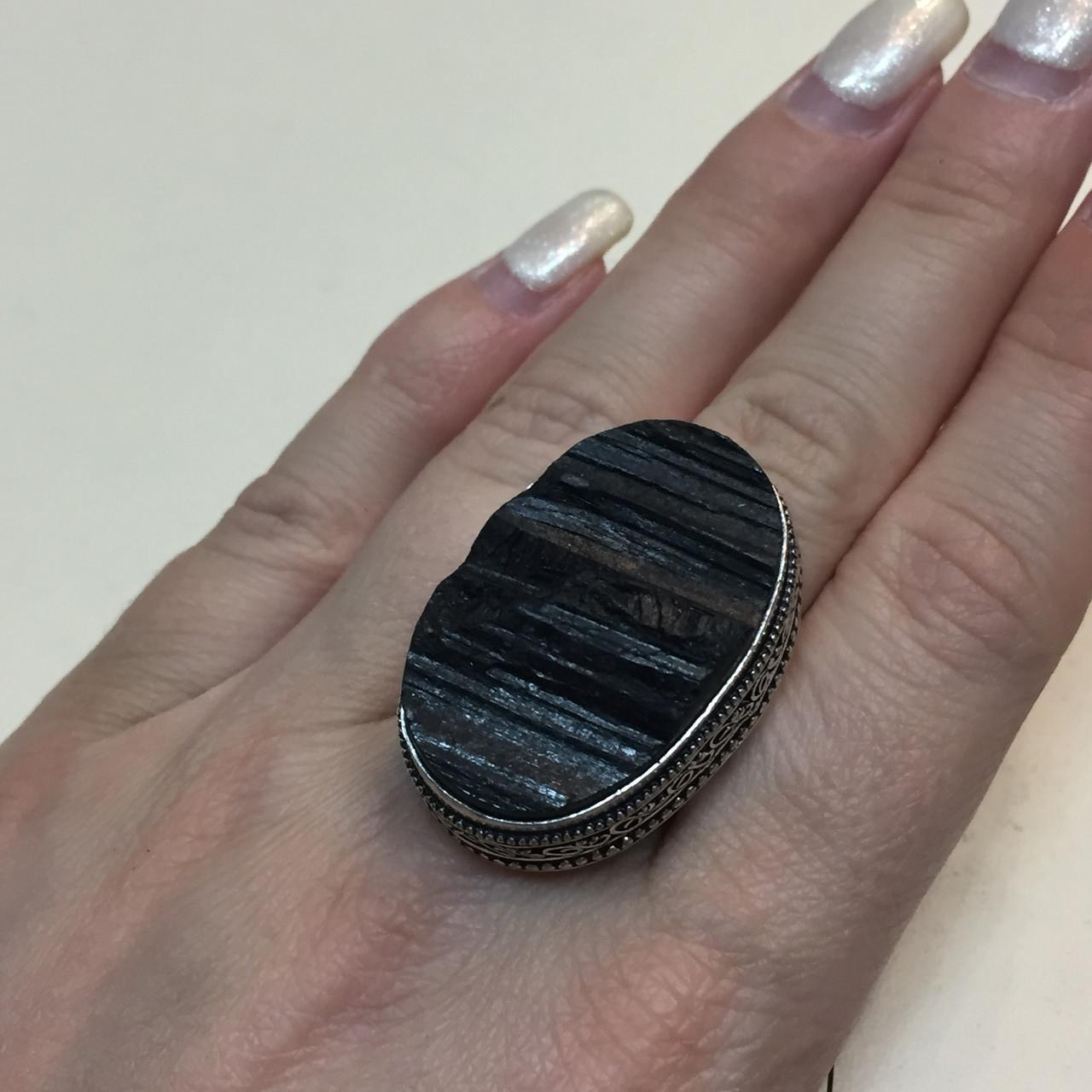 Черный турмалин шерл кольцо овал с черным турмалином в серебре 19.5 20 размер Индия