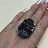Черный турмалин шерл кольцо овал с черным турмалином в серебре 19.5 20 размер Индия, фото 1