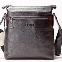 Мужская сумка на плечо FENDI кожаная темно коричневого цвета
