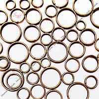Металлическое кольцо соединительное разъемное два витка 10 мм бронза 1 г для рукоделия