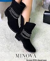 Ботинки женские №988R-черный замш, фото 1