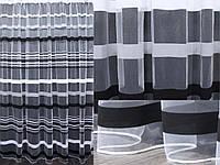 Тюль фатин полоса, цвет серый с черным. Код 340т, фото 1