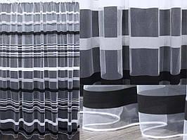 Тюль фатин полоса, цвет серый с черным. Код 340т