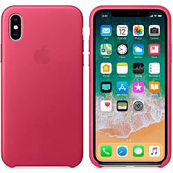 Кожаный чехол Apple Leather Case Pink Fuchsia для iPhone Xs Max  (high copy)