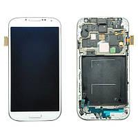 Samsung GALAXY SIV LTE I9505 white LCD, модуль, дисплей с сенсорным экраном с рамкой в сборе