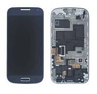 Samsung GALAXY SIV Mini I9195 blue LCD, модуль, дисплей с сенсорным экраном с рамкой в сборе