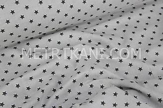 Хлопковая ткань с  графитовыми  мини звезды 10мм на сером фоне  №1654