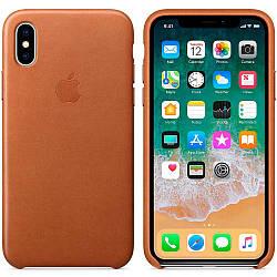 Кожаный чехол Apple Leather Case Saddle Brown для iPhone Xs Max  (high copy)