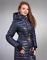 Зимняя женская молодежная куртка, цвет темно синий