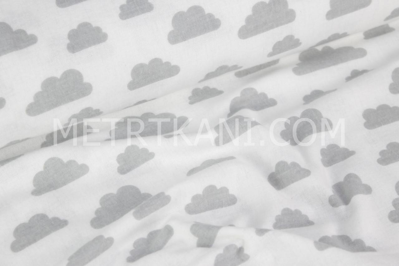 Фланель детская  серые  облака на белом  №829