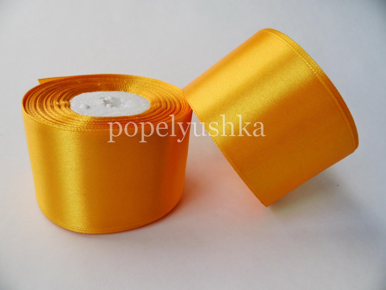 Стрічка атласна 5 см насичено-жовта