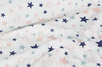"""Фланель   """"Разноцветный звездопад"""" синие и пудровые звёзды на белом фоне № 1396"""