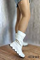 Белые кожаные демисезонные полусапожки, фото 1