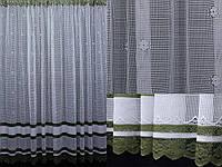 Тюль сетка, цвет белый с зеленым. Код 363т, фото 1