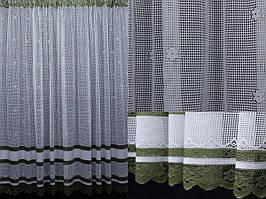 Тюль сетка, цвет белый с зеленым. Код 363т