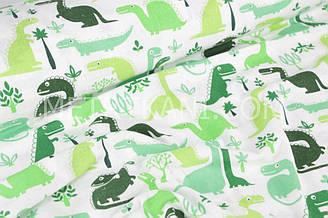"""Фланель дитяча """"Зелені динозаври"""" на білому тлі № 1655"""