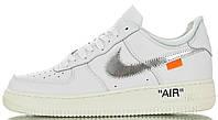 Женские кроссовки Nike Air Force 1 Low Virgil Abloh Off-White AO4297-100 Найк Аир Форс ОФФ Вайт кожаные белые