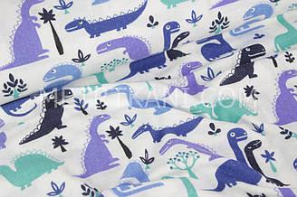 """Фланель дитяча """"Динозаври м'ятно-сині"""" на білому тлі № 1656"""