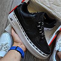 Женские кроссовки спортивные в стиле Nike Air Force 1 07 SE PRM черные на белой