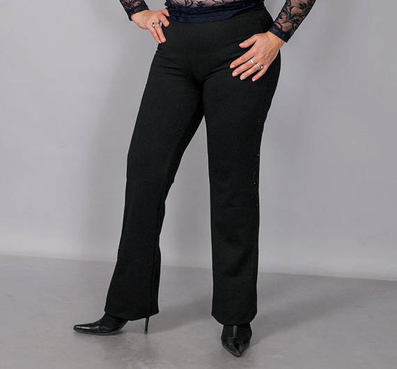 Брюки женские классические теплые черные на флисе и без флиса полномерных размеров
