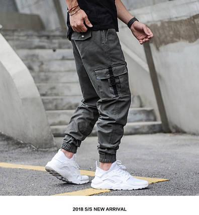 Мужские брюки джогеры с карманами карго на карабинах, фото 2