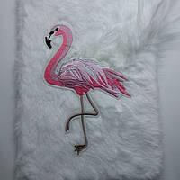 "Блокнот мягкий пушистый ""Фламинго"" белый"