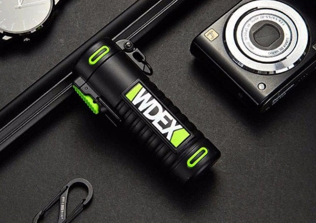 Вологозахищена електроімпульсна запальничка WDEX BS-1506 акумуляторна USB Чорно-Зелений (SUN5536)