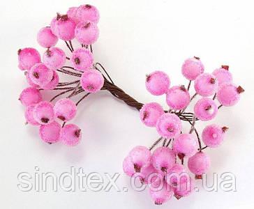 (Пучок) Калина сахарная для рукоделия  Ø12мм, 40 ягодок (20 двухсторонних проволочек) Цвет - Розовый
