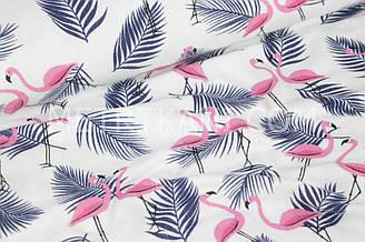 """Фланель дитяча """"Фламінго на листках пальми синього кольору"""" білий фон № 1658"""