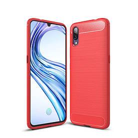 Чехол накладка для Vivo X23 силиконовый, Carbon Fiber, Красный