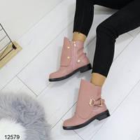 Ботинки розовые эко-кожа деми на низком ходу на осень внутри флис, фото 1