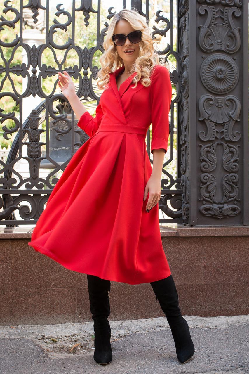 Классическое платье миди с V-образным вырезом рукав три четверти цвет красный